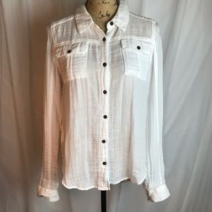 Free People We The Free Solid Gauze Button Down